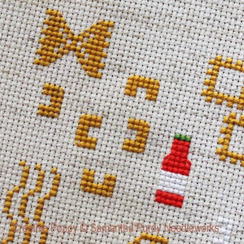 Pasta Night cross stitch pattern by Samantha Purdy Needlecraft, zoom 1