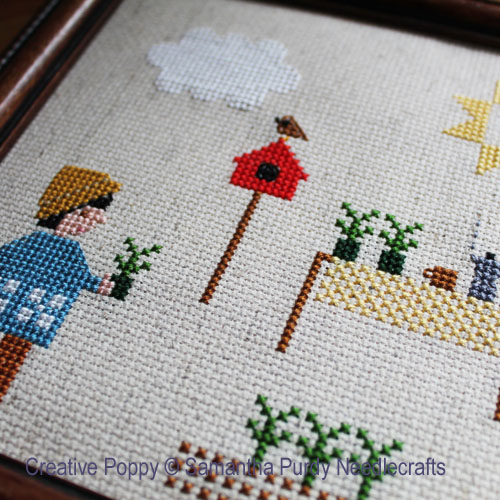 Planting Seedlings cross stitch pattern by Samantha Purdy Needlecraft, zoom 1