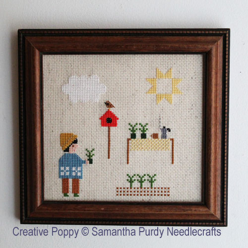 Planting Seedlings cross stitch pattern by Samantha Purdy Needlecraft