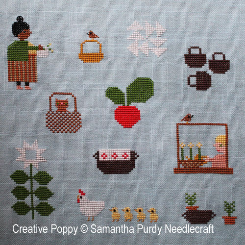 Spring Baskets cross stitch pattern by Samantha Purdy Needlecraft
