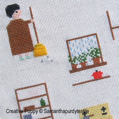 Samanthapurdytextile - Rainy Day Cleaning zoom 1 (cross stitch chart)