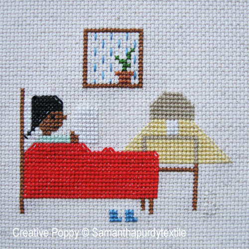 Samanthapurdytextile - Reading in Bed (cross stitch chart)