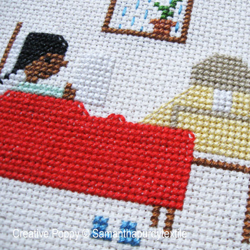 Reading in Bed cross stitch pattern by Samanthapurdytextile, zoom 1