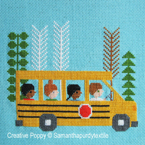 School Bus cross stitch pattern by Samantha Purdy