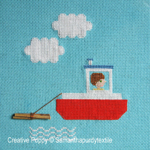 Tug Boat Ride cross stitch pattern by Samantha Purdy