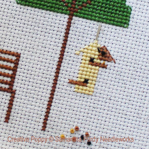 Yellow Bird Feeder cross stitch pattern by Samantha Purdy Needlecraft, zoom 1