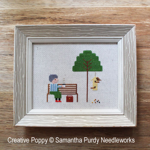 Yellow Bird Feeder cross stitch pattern by Samantha Purdy Needlecraft