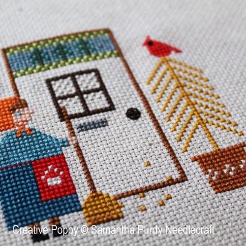 First leaves cross stitch pattern by Samantha Purdy Needlecraft, zoom 1