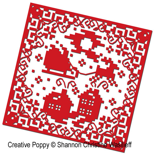 Christmas Silhouette ornaments cross stitch pattern by Shannon Christine Designs, zoom1