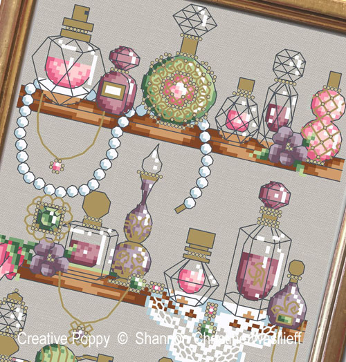 Shannon Christine Designs - Perfume Shelf zoom 1 (cross stitch chart)