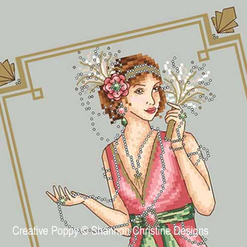 Art Deco Lady cross stitch pattern by Shannon Christine Designs, zoom 1