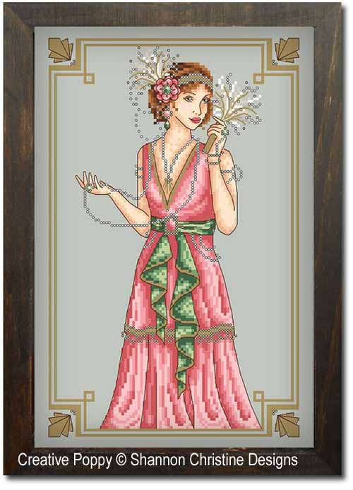 Art Deco Lady cross stitch pattern by Shannon Christine Designs