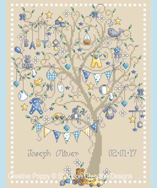 Baby Boy tree cross stitch pattern by Shannon Christine Designs