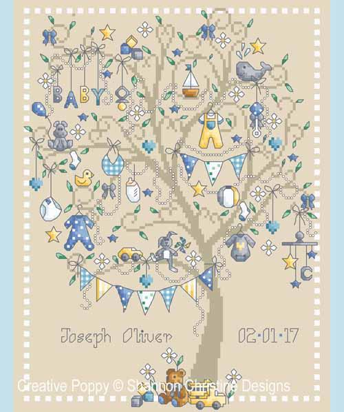 Baby Boy tree cross stitch pattern by Shannon Christine Designs