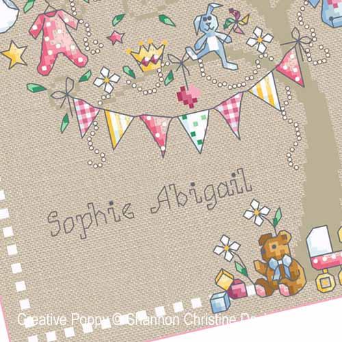 Baby Girl Tree cross stitch pattern by Shannon Christine Designs, zoom2