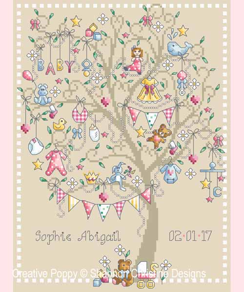 Baby Girl Tree cross stitch pattern by Shannon Christine Designs