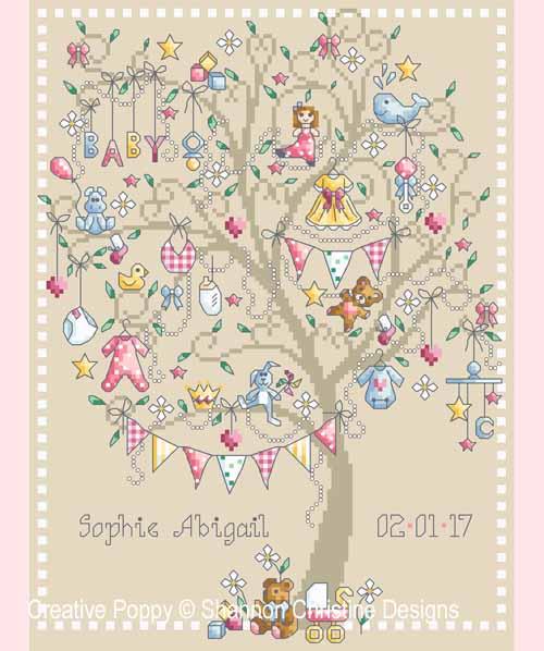 Baby Girl Tree cross stitch pattern by Shannon Christine Designs