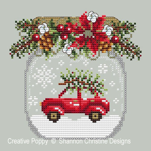 Car Snow Globe cross stitch pattern by Shannon Christine Designs