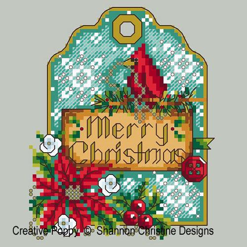Shannon Christine Designs - Cardinal Gift Tag (cross stitch chart)