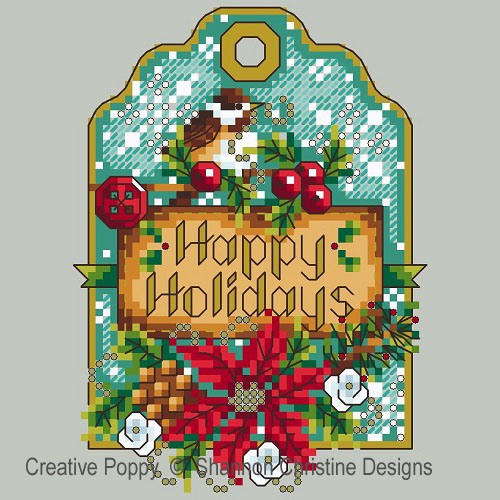 Shannon Christine Designs - Chickadee Gift Tag (cross stitch chart)