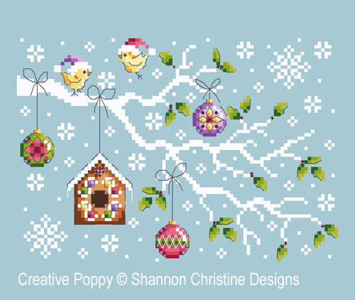 Christmas Branch cross stitch pattern by Shannon Christine Designs