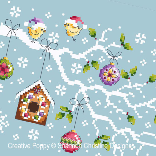 Christmas Branch cross stitch pattern by Shannon Christine Designs, zoom 1