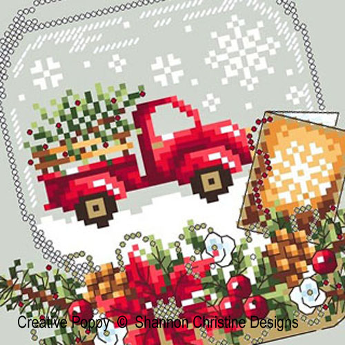 Truck Snow Globe cross stitch pattern by Shannon Christine Designs, zoom 1