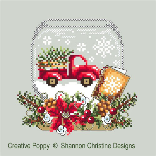 Truck Snow Globe cross stitch pattern by Shannon Christine Designs