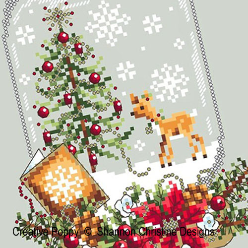 Deer Snow Globe cross stitch pattern by Shannon Christine Designs, zoom 1