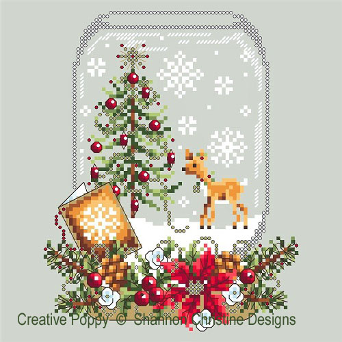 Deer Snow Globe cross stitch pattern by Shannon Christine Designs