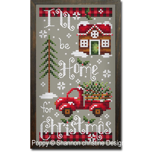 Home for Christmas cross stitch pattern by Shannon Christine Designs, zoom 1