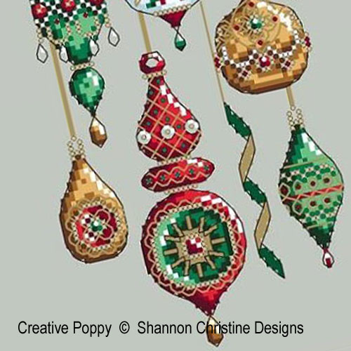 Jeweled Baubles cross stitch pattern by Shannon Christine Designs, zoom 1