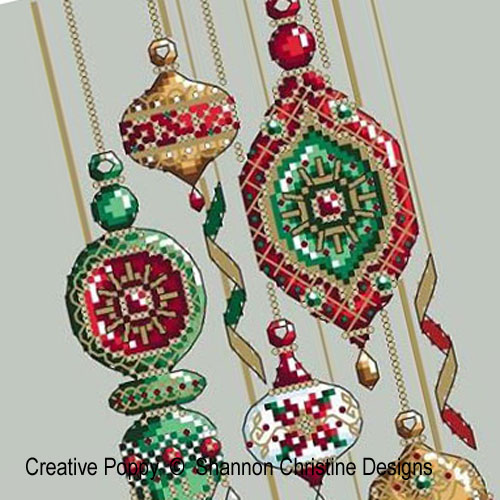 Jeweled Baubles cross stitch pattern by Shannon Christine Designs