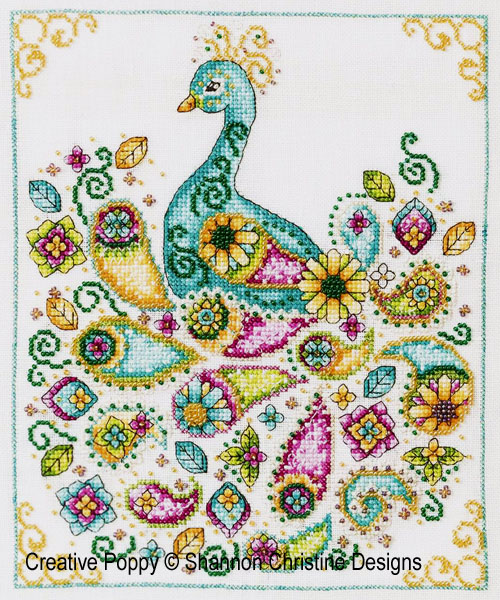 Paisley Peacock cross stitch pattern by Shannon Christine Designs
