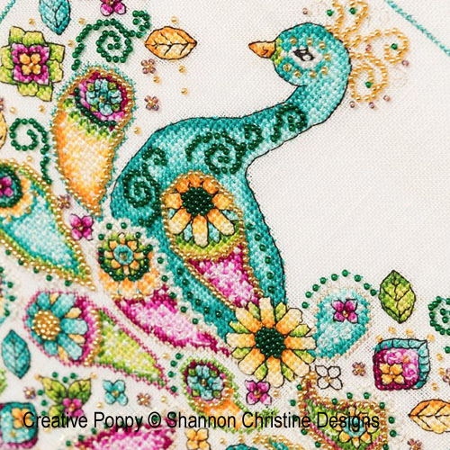 Paisley Peacock cross stitch pattern by Shannon Christine Designs, zoom3