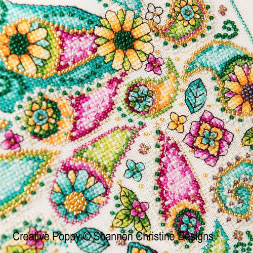Paisley Peacock cross stitch pattern by Shannon Christine Designs, zoom1