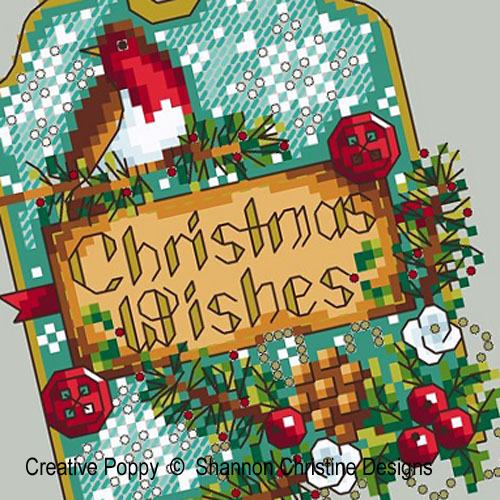 Robin Gift Tag cross stitch pattern by Shannon Christine Designs