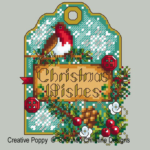 Shannon Christine Designs - Robin Gift Tag (cross stitch chart)