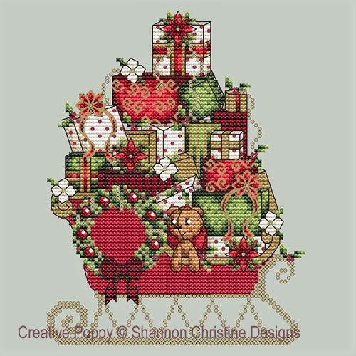 Santa's Sleigh cross stitch pattern by Shannon Christine Designs