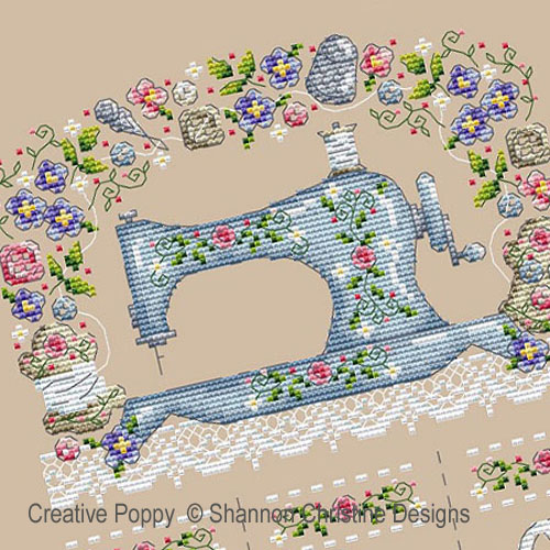 Sewing machine cross stitch pattern by Shannon Christine designs