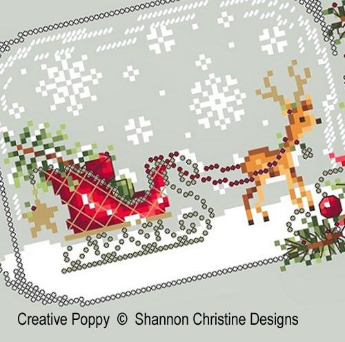 Sleigh Snow Globe cross stitch pattern by Shannon Christine Designs, zoom 1