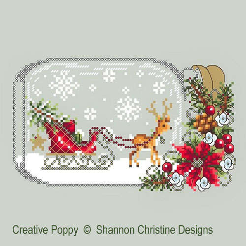 Sleigh Snow Globe cross stitch pattern by Shannon Christine Designs