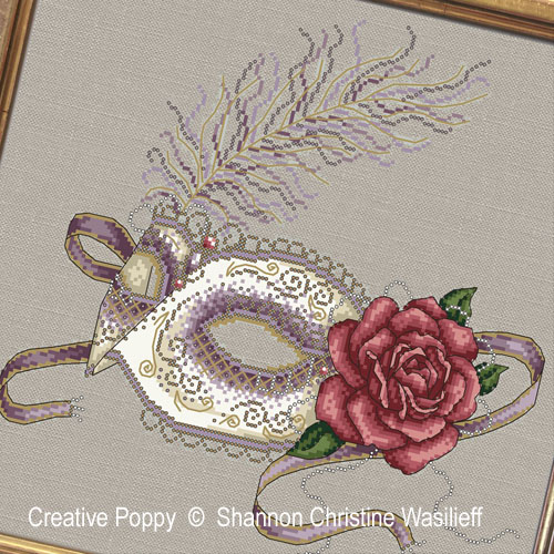 Shannon Christine Designs - Venetian Mask zoom 1 (cross stitch chart)