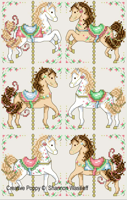 Carousel horses cross stitch pattern by Shannon Christine Designs