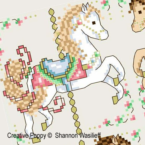 Carousel Horses cross stitch pattern by Shannon Christine Designs, zoom 1