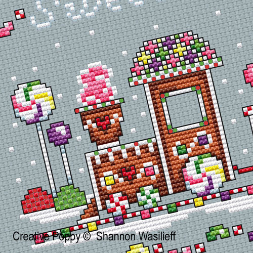 Shannon Christine Designs - Gingerbread Train zoom 1 (cross stitch chart)