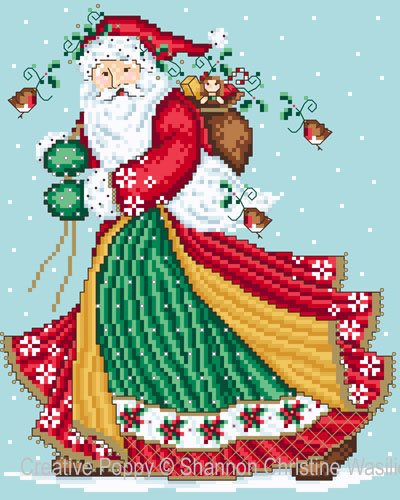 Jolly Santa cross stitch pattern by Shannon Christine Designs
