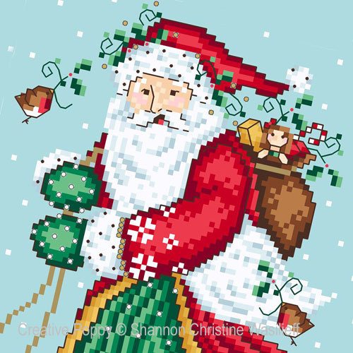 Cross stitch patterns for Christmas featuring Santa Claus
