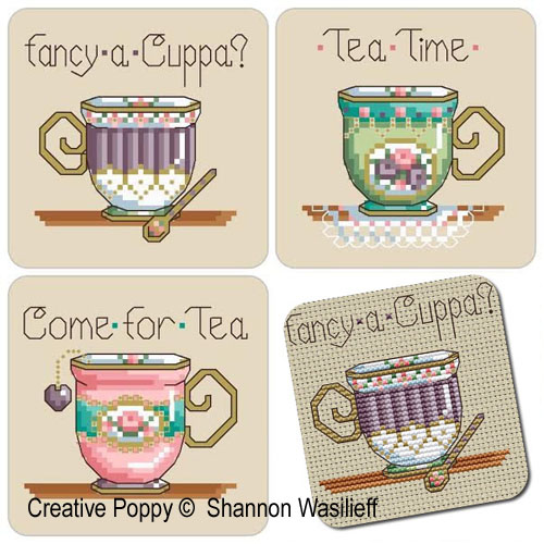 Tea-time Teacups cross stitch pattern by Shannon Christine Designs