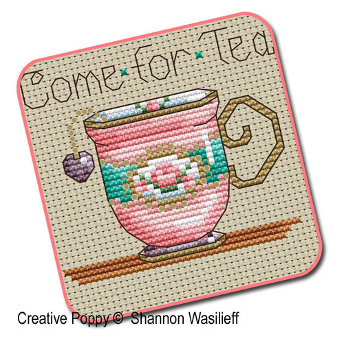 Tea-time Teacups cross stitch pattern by Shannon Christine Designs, zoom1